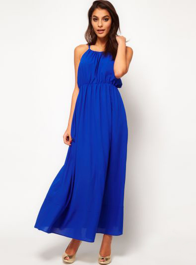 Длинного платья ярко синего цвета asos