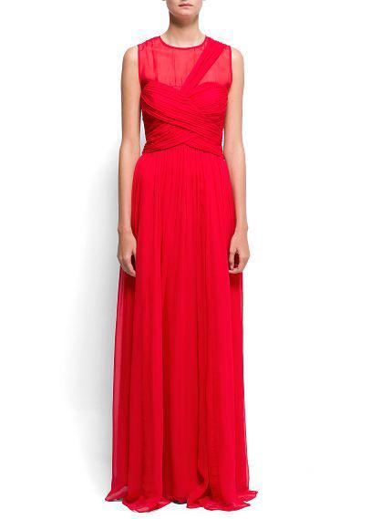 Манго красное длинное платье