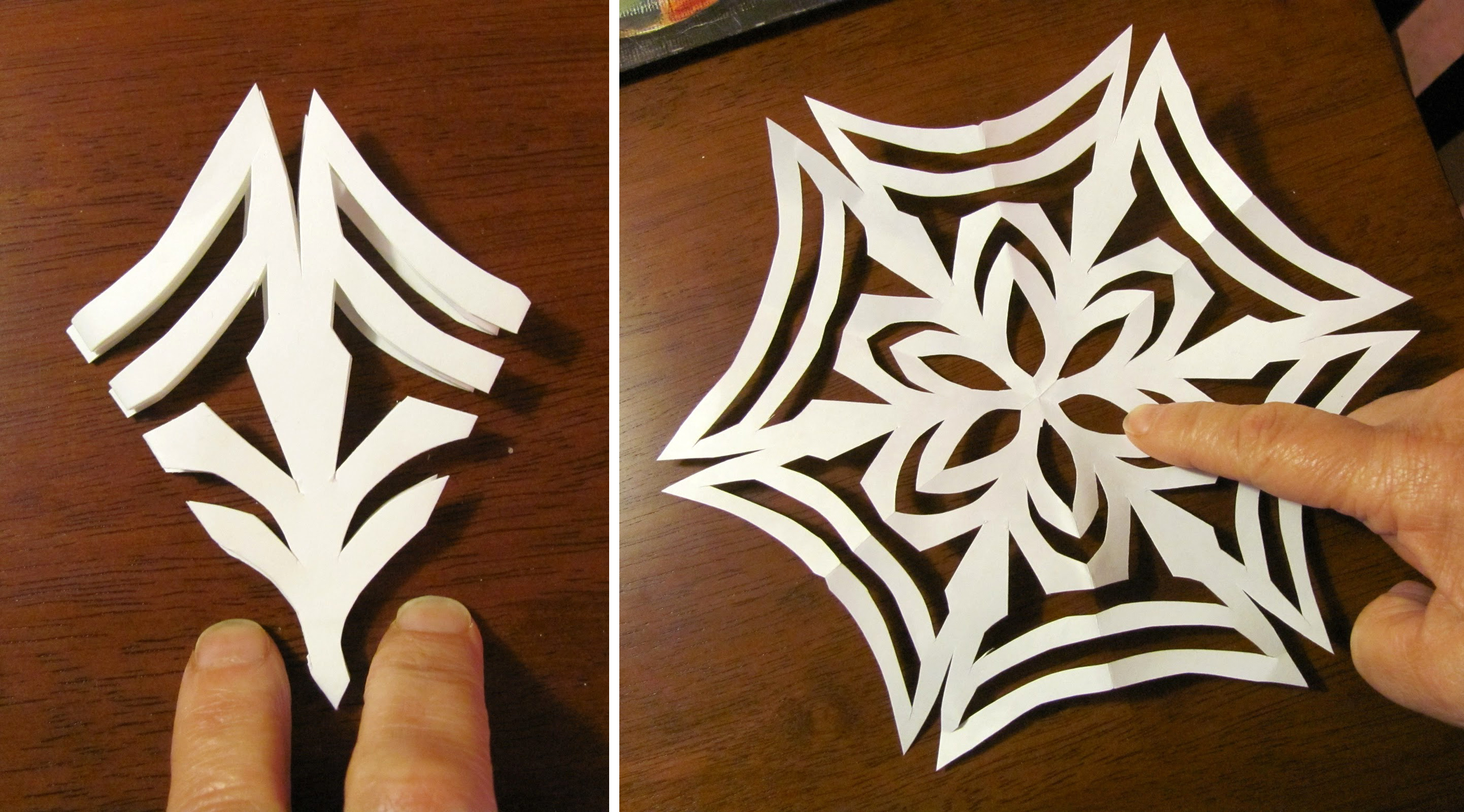 Как сделать красивые снежинки из бумаги пошагово