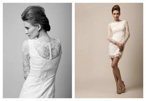 Короткое кружевное свадебное платье LEA