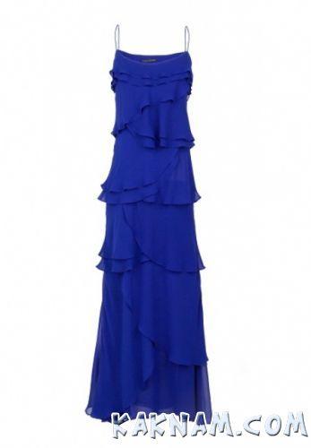 Фото длинного синего платья на Новый Год 2014