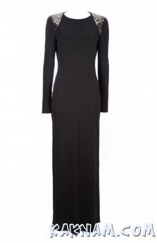Фото черного вечернего платья с рукавами
