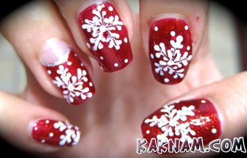 Снежинки на ногтях-3