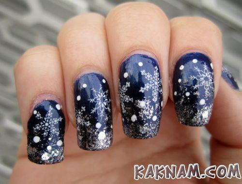Снежинки на ногтях-4