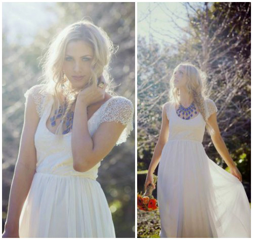 Фото романтичного свадебного платья в крестьянском стиле «Clare»