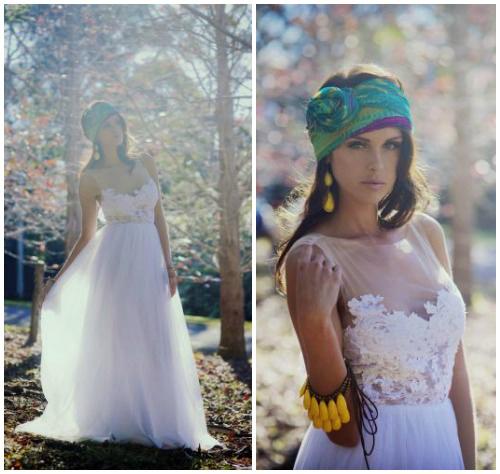 Фото романтичного свадебного платья в крестьянском стиле «Loren»
