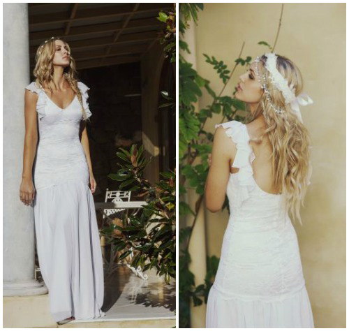 Фото романтичного свадебного платья в крестьянском стиле «Madeline»