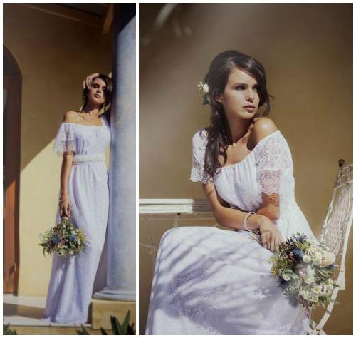 Фото романтичного свадебного платья в крестьянском стиле «Reine»