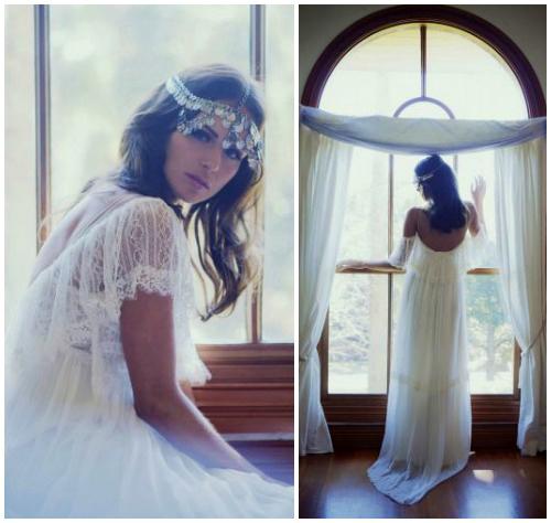 Фото романтичного свадебного платья в крестьянском стиле «Colette»
