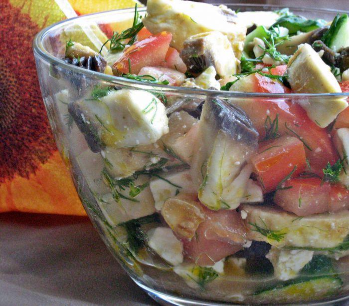 Приготовление салата почти шопский