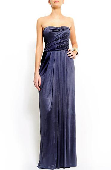 Синее вечернее платье в пол от mango